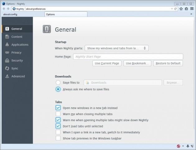 Le opzioni in-tab di Firefox 32.