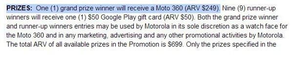 Il regolamento per il contest di Motorola per vincere un Moto 360