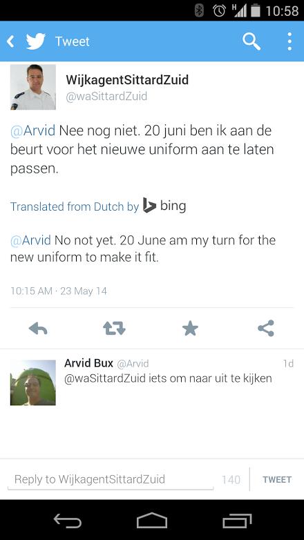 Traduzione Bing in Twitter per Android.