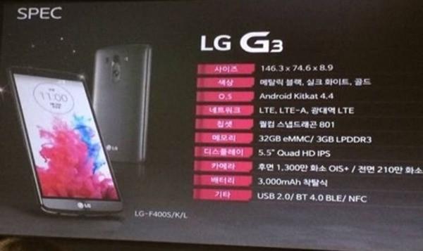 Una diapositiva mostra le specifiche del prossimo LG G3