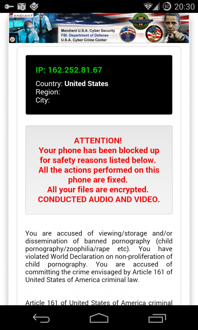 Ransomware su Android