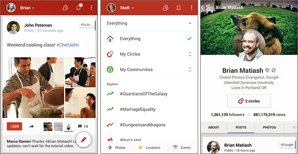 Screenshot per l'applicazione Google+ 4.4 su smartphone Android