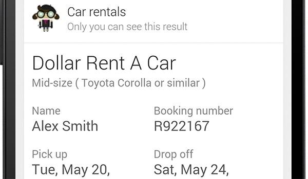 L'assistente Google Now mostra le informazioni sulle prenotazioni effettuate presso i servizi di autonoleggio