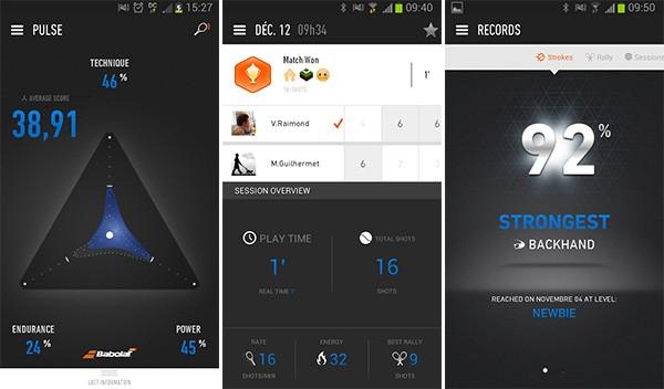 Screenshot per l'applicazione mobile che gestisce le informazioni e statistiche raccolte dalla racchetta da tennis Babolat Play Pure Drive