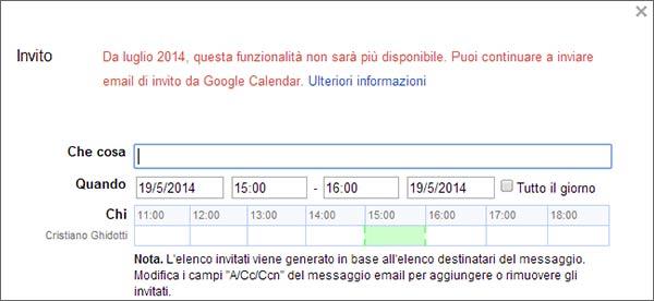 L'avviso che compare inserendo un invito da Google Calendar all'interno di un messaggio da inviare con Gmail