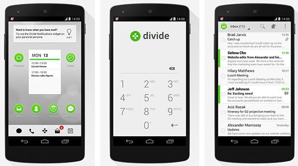 Screenshot per la versione Android dell'applicazione Divide