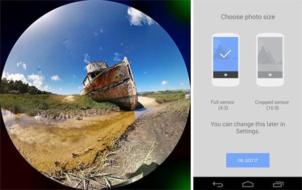 Due delle novità dell'applicazione Fotocamera per Android: il filtro fisheye e le opzioni per il ritaglio delle immagini