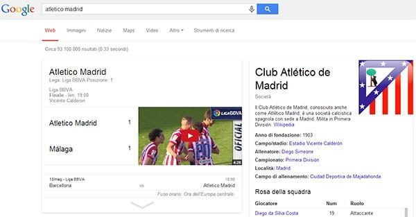 Gli highlight del campionato spagnolo sono visualizzati anche nelle SERP di Google su computer desktop