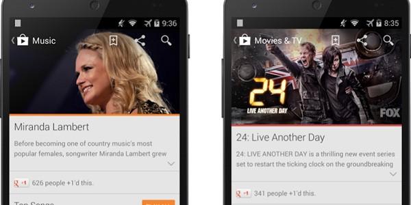 La nuova interfaccia delle schede nelle sezioni Film e Libri di Google Play Store