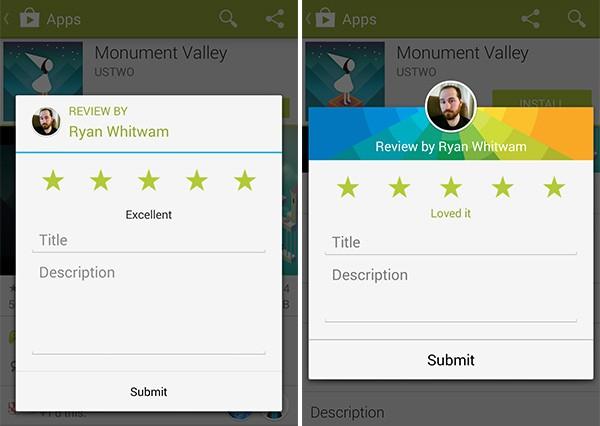 La schermata per scrivere la recensioni di un'app nella vecchia versione di Play Store (a sinistra) e in quella nuova (a destra)