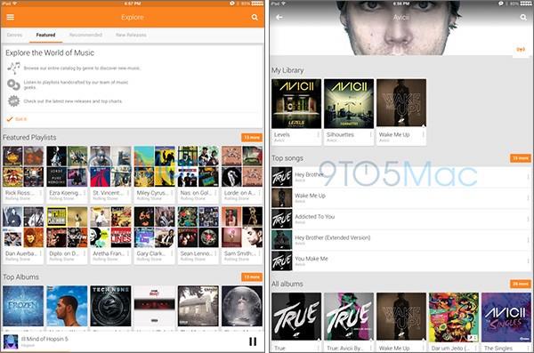 Il layout ottimizzato per iPad dell'applicazione Google Play Music