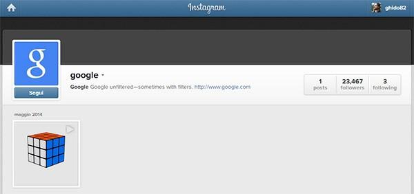 Il profilo ufficiale di Google su Instagram