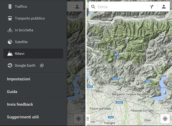 """L'aggiornamento alla versione 8.1 introduce nuovamente la voce """"Rilievi"""" nell'applicazione Google Maps per Android"""