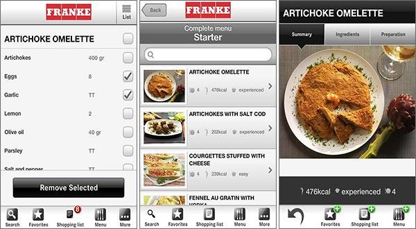 Screenshot per l'applicazione myMenu di Franke