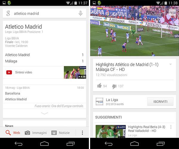 Le schede di Google Now relative ai match sportivi suggeriscono la visione degli highlight in streaming su YouTube