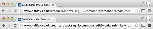 L'URL originale (sopra) e quello di un sito realizzato per pratiche di phishing (sotto)