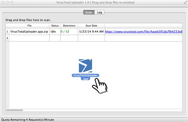 L'interfaccia del software VirusTotal Uploader nella nuova versione per computer OS X