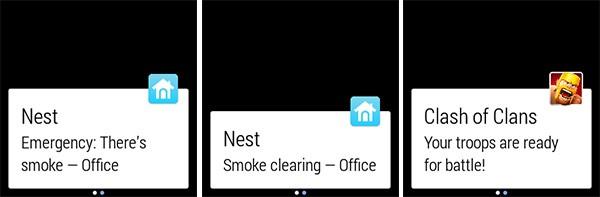 Alcuni esempi di notifiche mostrate da un dispositivo indossabile equipaggiato con Android Wear