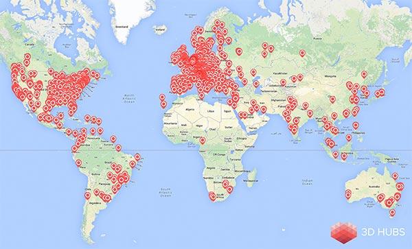 La mappa che mostra la distribuzione degli hub iscritti a 3D Hubs in tutto il mondo