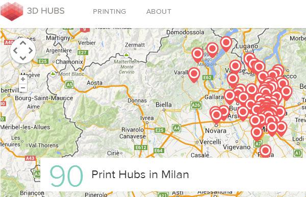 Sono 90 (ben 26 in più rispetto a marzo) le stampanti 3D messe a disposizione su 3D Hubs nella città di Milano e dintorni