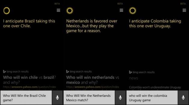 Cortana ha previsto le vittorie di Brasile, Olanda e Colombia.