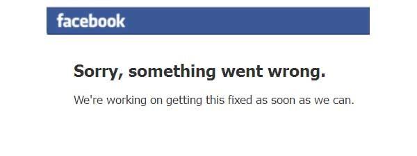 Il messaggio che da qualche minuto i visitatori di Facebook trovano al posto della Home Page. Il sito del famoso social network è irraggiungibile.