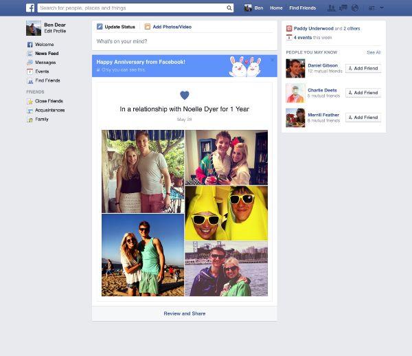Facebook celebra l'anniversario delle coppie