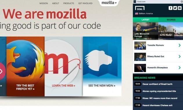 Goal.com in Firefox 30