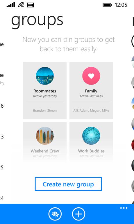 La scheda per la creazione dei gruppi in Facebook Messenger per Windows Phone.