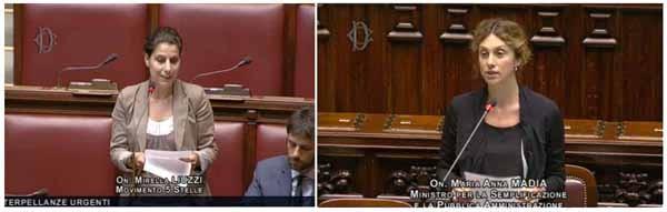 A sinistra: Mirella Liuzzi (M5S). La sua interpellanza sull'agenda digitale e l'Agid ha evidenziato i ritardi e le carenze strategiche. Il ministro Marianna Madia (a destra), ha risposto che l'attuazione degli adempimenti è particolarmente sentito dal governo a causa dei forti ritardi negli obiettivi. Confermata la nomina del nuovo direttore dell'Agid nei prossimi giorni, e comunque prima dell'8 luglio, data del Digital Venice.
