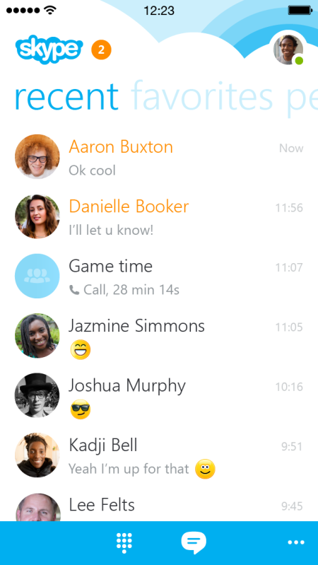 La nuova interfaccia di Skype per iPhone.