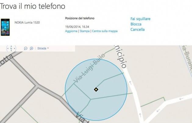 """La pagina web della funzione """"Trova il mio telefono"""" su Windows Phone."""