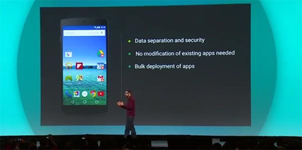 Sundar Pichai annuncia Android for Work dal palco dell'evento Google I/O 2014