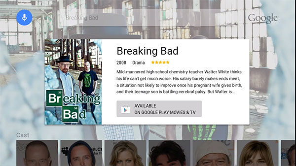 La scheda della serie Breaking Bad su Android TV
