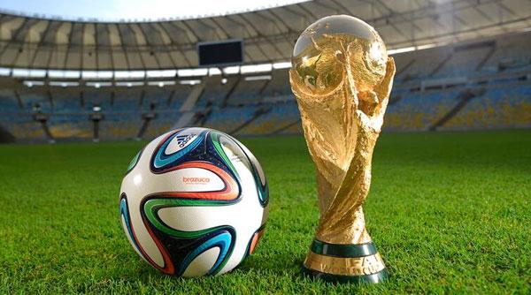 Il pallone ufficiale della competizione Adidas Brazuca e il trofeo assegnato alla squadra vincitrice dei mondiali