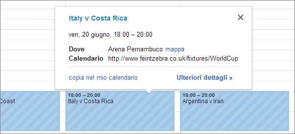 Il calendario con tutte le partite di Brasile 2014 su Google Calendar