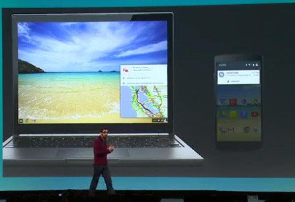 Le notifiche di Android visualizzate nell'interfaccia di Chrome OS, sui laptop Chromebook