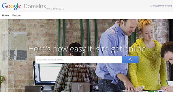 Screenshot per l'homepage di Google Domains