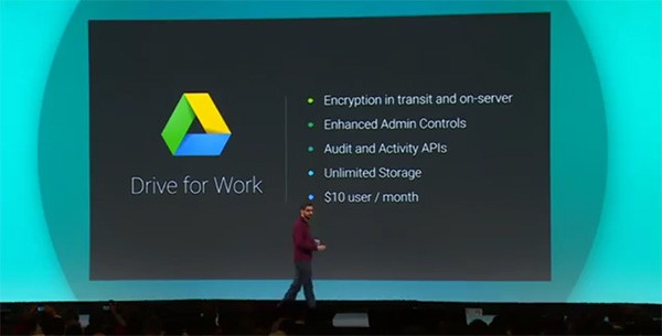 L'annuncio di Google Drive for Work, dal palco dell'evento I/O 2014