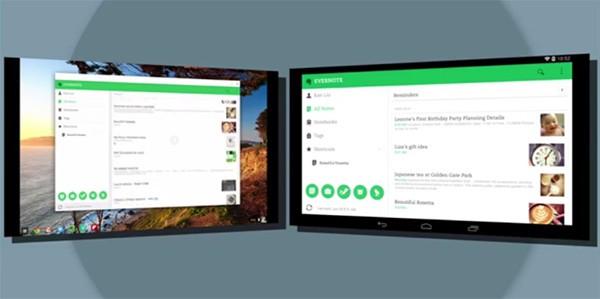 L'applicazione Evernote in esecuzione su un tablet Android (a destra) e su un Chromebook (a sinistra), con la stessa interfaccia