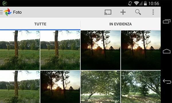 """Il pulsante """"Cast"""" introdotto nell'applicazione Google+ Foto"""