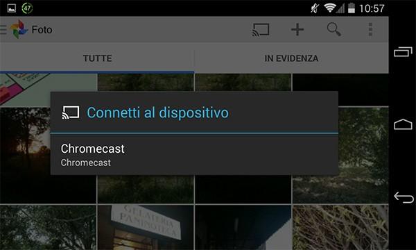 Selezionare il Chromecast desiderato dall'elenco mostrato sul display