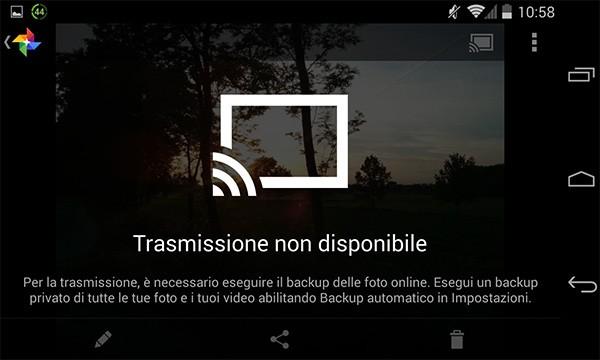 Per visualizzare i contenuti di Google+ Foto sulla TV attraverso Chromecast è necessario attivare il backup automatico