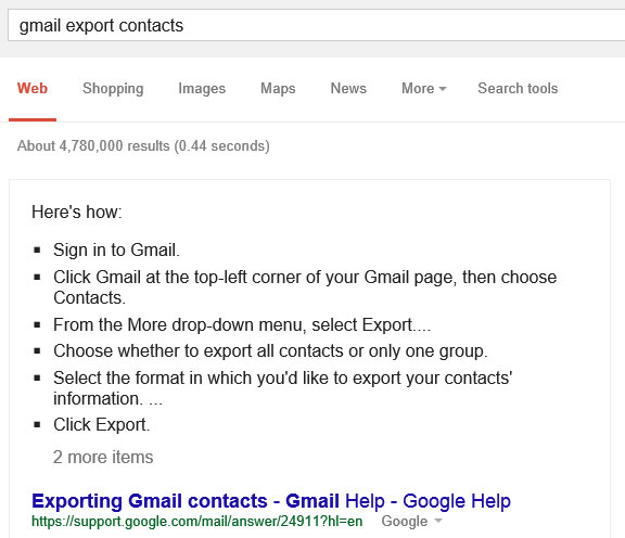 La guida all'esportazione dei contatti Gmail, mostrata da Google direttamente nelle SERP del motore di ricerca