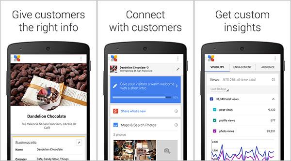 Screenshot per l'applicazione Google My Business su dispositivi Android