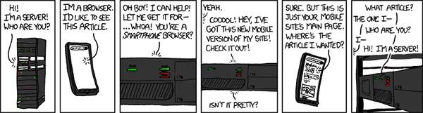 Il fumetto che ironizza sul problema legato al redirect dei siti mobile verso la homepage