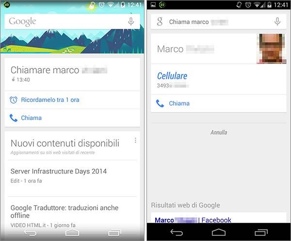 Google Now: i nuovi promemoria delle telefonate offrono un pulsante per chiamare direttamente i contatti in rubrica
