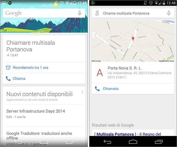 Google Now: se disponibile, i nuovi promemoria delle telefonate mostrano anche la posizione del contatto (o dell'attività commerciale) sulla mappa