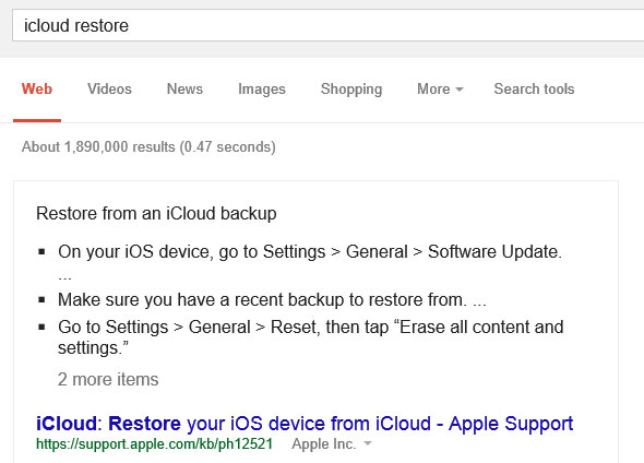 La guida al ripristino dei backup di iCloud, mostrata da Google direttamente nelle SERP del motore di ricerca