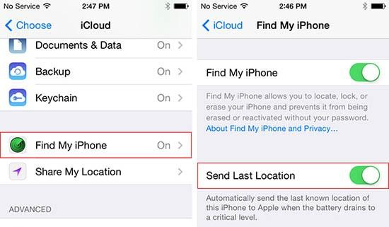 Invio ultima posizione, iOS 8